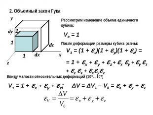2. Объемный закон ГукаРассмотрим изменение объема единичного кубика:После деформ