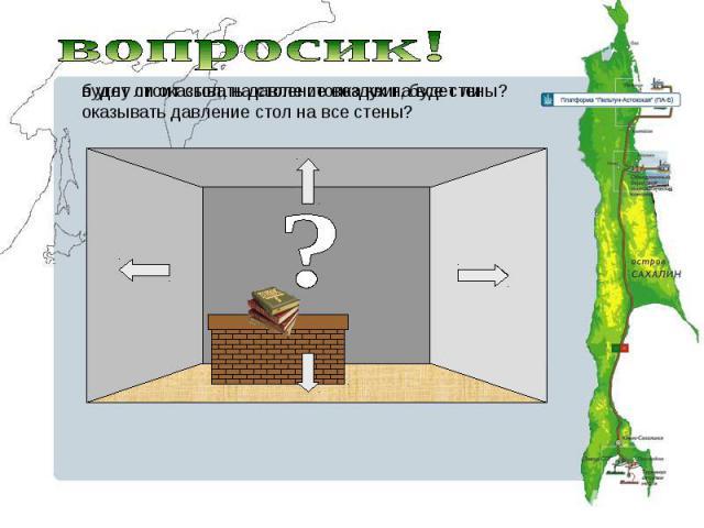вопросик!будет ли оказывать давление воздух на все стены? в углу стоит стол, на столе стопка книг, будет ли оказывать давление стол на все стены?