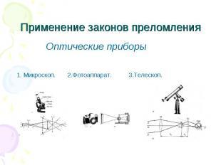 Применение законов преломления Оптические приборы 1. Микроскоп. 2.Фотоаппарат. 3