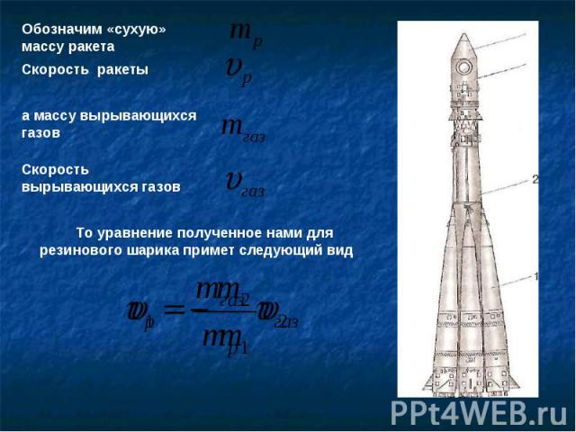 Обозначим «сухую» массу ракета Скорость ракетыа массу вырывающихся газовСкорость вырывающихся газов То уравнение полученное нами для резинового шарика примет следующий вид