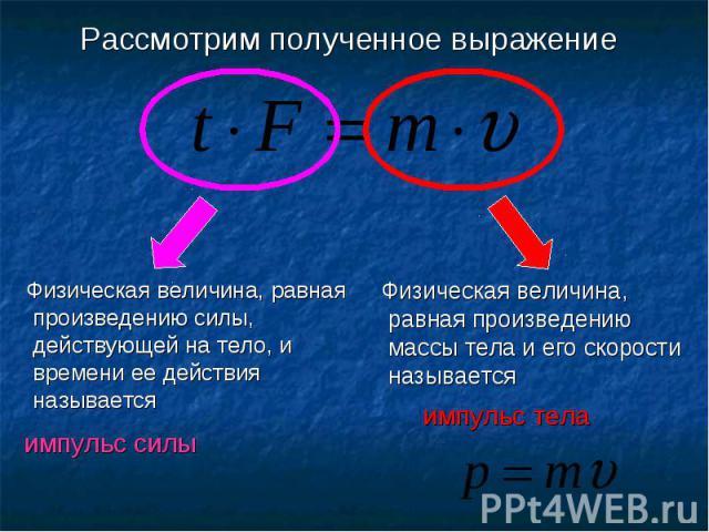 Рассмотрим полученное выражение Физическая величина, равная произведению силы, действующей на тело, и времени ее действия называется импульс силы Физическая величина, равная произведению массы тела и его скорости называется импульс тела