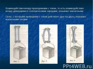 Взаимодействия между проводниками с током, то есть взаимодействия между движущим