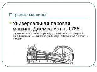 Паровые машины Универсальная паровая машина Джемса Уатта 1765г 1-золотниковая ко