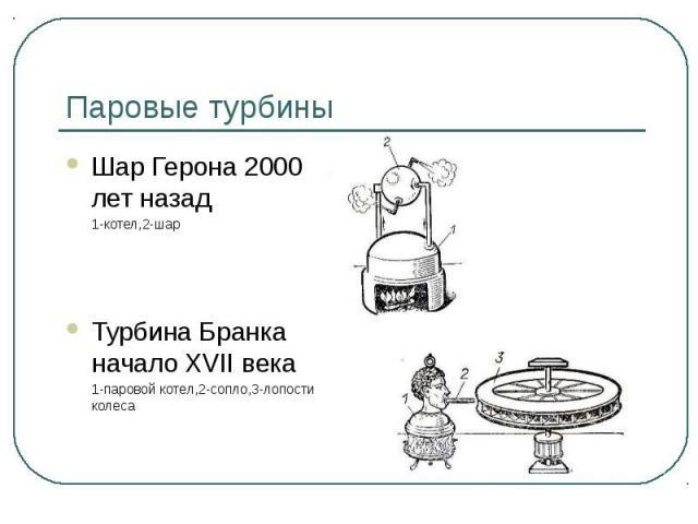 Паровые турбины Шар Герона 2000 лет назад 1-котел,2-шарТурбина Бранка начало XVII века 1-паровой котел,2-сопло,3-лопости колеса