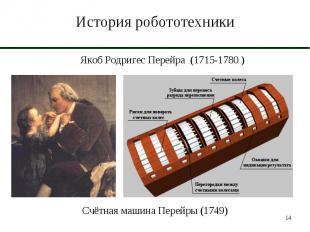 История робототехники Якоб Родригес Перейра (1715-1780 )Счётная машина Перейры (