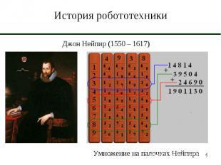 История робототехники Джон Нейпир (1550 – 1617)Умножение на палочках Нейпира