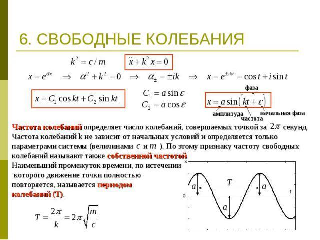 6. СВОБОДНЫЕ КОЛЕБАНИЯ Частота колебаний определяет число колебаний, совершаемых точкой за секунд. Частота колебаний k не зависит от начальных условий и определяется только параметрами системы (величинами и ). По этому признаку частоту свободных кол…