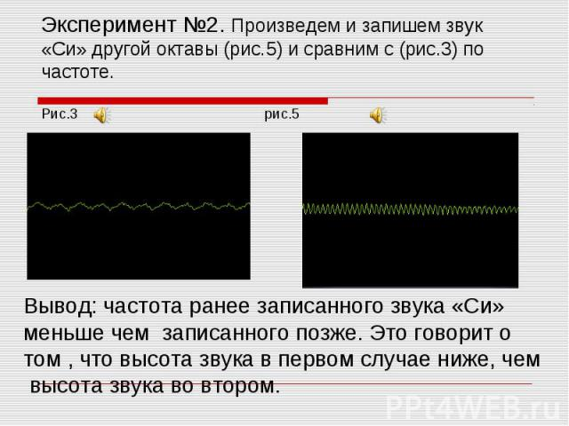 Эксперимент №2. Произведем и запишем звук «Си» другой октавы (рис.5) и сравним с (рис.3) по частоте.Рис.3 рис.5 Вывод: частота ранее записанного звука «Си» меньше чем записанного позже. Это говорит о том , что высота звука в первом случае ниже, чем …