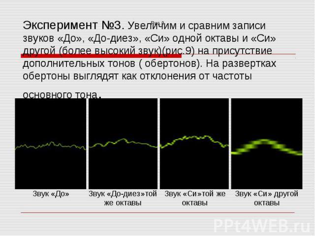 Эксперимент №3. Увеличим и сравним записи звуков «До», «До-диез», «Си» одной октавы и «Си» другой (более высокий звук)(рис.9) на присутствие дополнительных тонов ( обертонов). На развертках обертоны выглядят как отклонения от частоты основного тона.