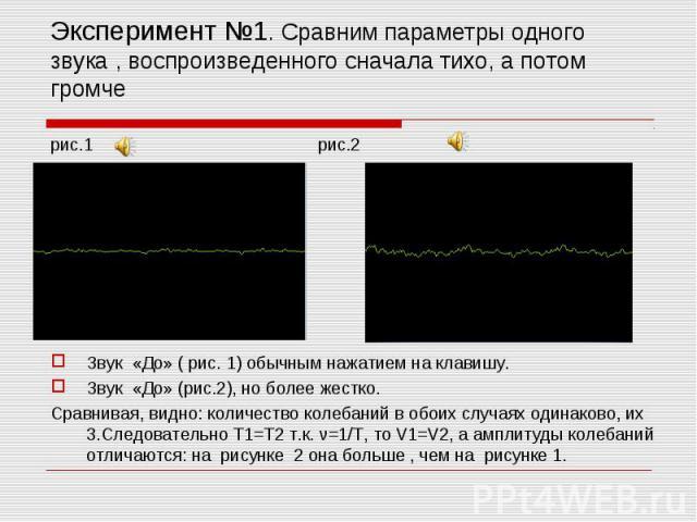 Эксперимент №1. Сравним параметры одного звука , воспроизведенного сначала тихо, а потом громче рис.1 рис.2 Звук «До» ( рис. 1) обычным нажатием на клавишу.Звук «До» (рис.2), но более жестко.Сравнивая, видно: количество колебаний в обоих случаях оди…