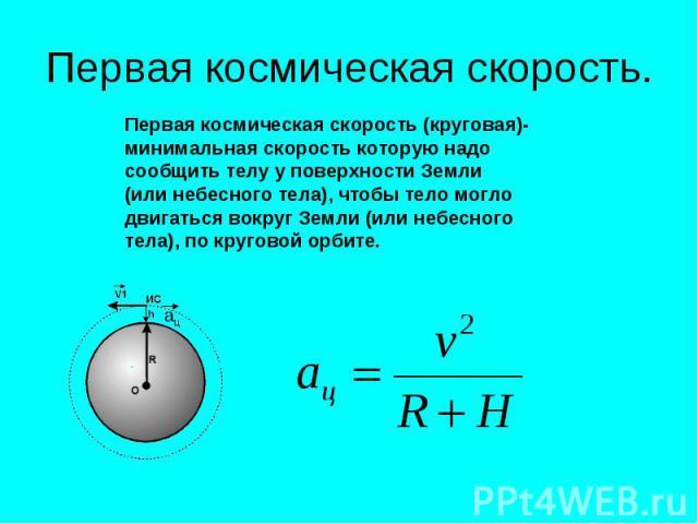 Первая космическая скорость. Первая космическая скорость (круговая)- минимальная скорость которую надо сообщить телу у поверхности Земли (или небесного тела), чтобы тело могло двигаться вокруг Земли (или небесного тела), по круговой орбите.