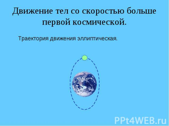 Движение тел со скоростью больше первой космической. Траектория движения эллиптическая.