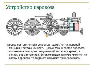 Устройство паровоза Паровоз состоит из трёх основных частей: котла, паровой маши