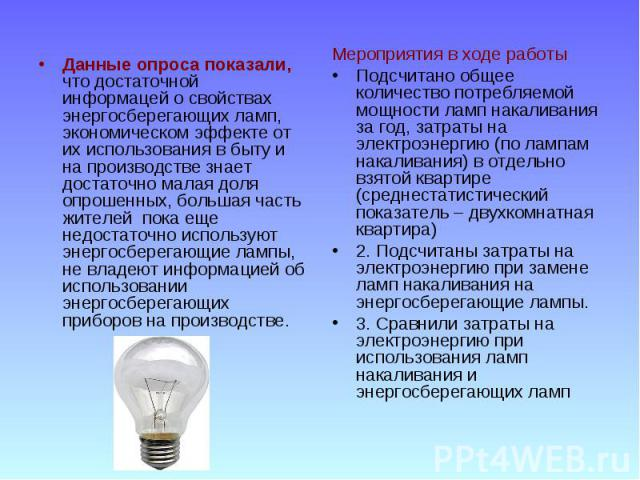 Данные опроса показали, что достаточной информацей о свойствах энергосберегающих ламп, экономическом эффекте от их использования в быту и на производстве знает достаточно малая доля опрошенных, большая часть жителей пока еще недостаточно используют …
