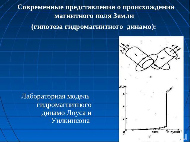 Современные представления о происхождении магнитного поля Земли (гипотеза гидромагнитного динамо): Лабораторная модель гидромагнитного динамо Лоуса и Уилкинсона