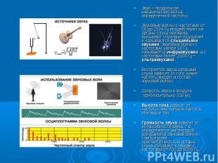 Звук – продольная механическая волна определенной частотыЗвуковые волны с частот