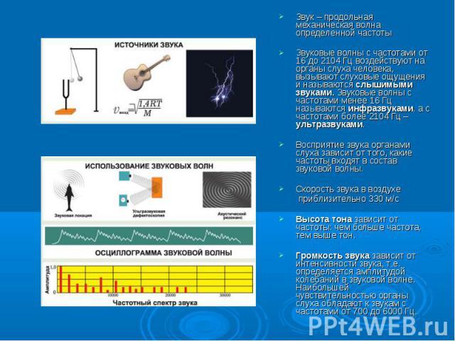 Звук – продольная механическая волна определенной частотыЗвуковые волны с частотами от 16 до 2104 Гц воздействуют на органы слуха человека, вызывают слуховые ощущения и называются слышимыми звуками. Звуковые волны с частотами менее 16 Гц называются …