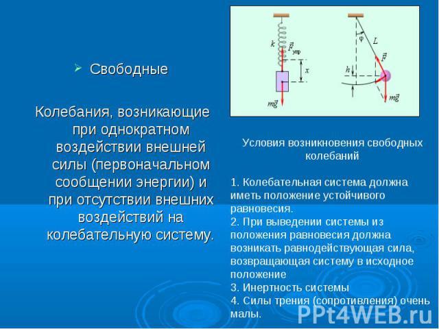 Свободные Колебания, возникающие при однократном воздействии внешней силы (первоначальном сообщении энергии) и при отсутствии внешних воздействий на колебательную систему.Условия возникновения свободных колебаний1. Колебательная система должна иметь…