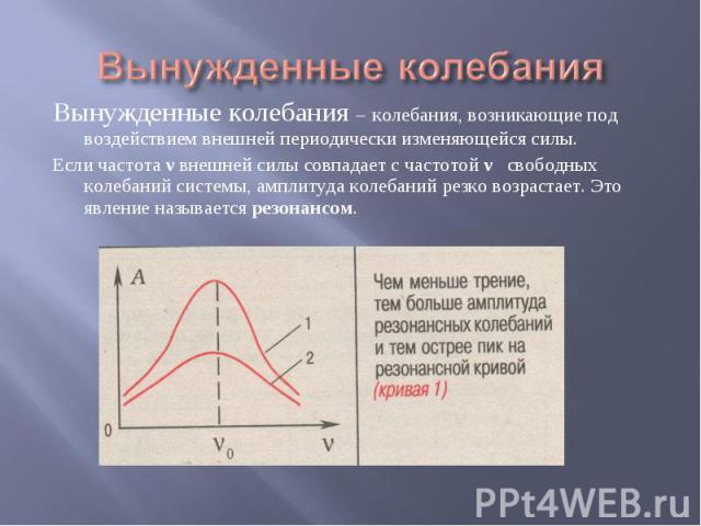 Вынужденные колебания Вынужденные колебания – колебания, возникающие под воздействием внешней периодически изменяющейся силы. Если частота ν внешней силы совпадает с частотой ν свободных колебаний системы, амплитуда колебаний резко возрастает. Это я…
