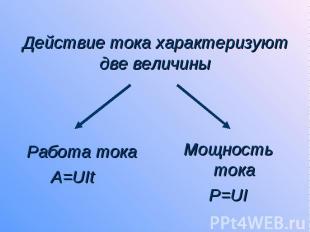 Действие тока характеризуют две величины Работа токаA=UItМощность токаP=UI