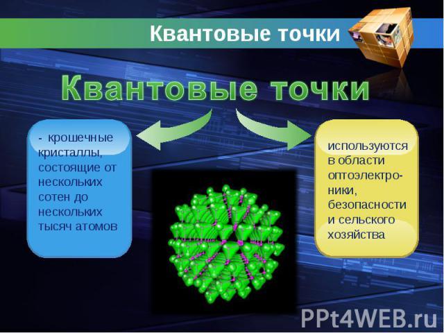 Квантовые точки Квантовые точки- крошечные кристаллы, состоящие от нескольких сотен до нескольких тысяч атомовиспользуются в области оптоэлектро-ники, безопасности и сельского хозяйства