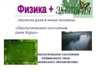 Физика + экология «Экология дома в жизни человека»«Экологическое состояние реки