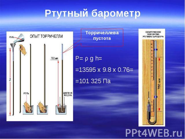 Ртутный барометр Торричеллева пустота