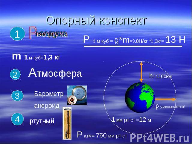Опорный конспект АтмосфераБарометранероидртутный