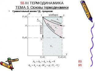 55 III ТЕРМОДИНАМИКАТЕМА 5 Основы термодинамики Сравнительный анализ ТД - процес