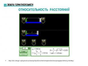 ОТНОСИТЕЛЬНОСТЬ РАССТОЯНИЙ http://old.college.ru/physics/courses/op25part2/conte