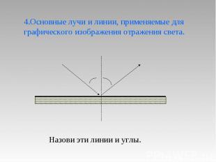 4.Основные лучи и линии, применяемые для графического изображения отражения свет