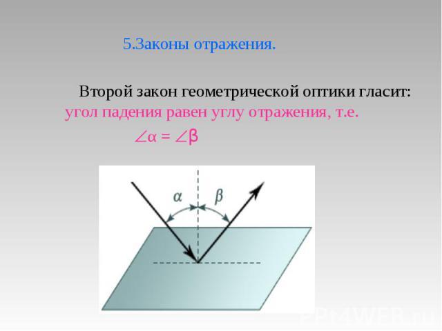 5.Законы отражения. Второй закон геометрической оптики гласит: угол падения равен углу отражения, т.е. α = β