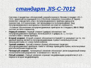 стандарт JIS-C-7012 Система стандартных обозначений, разработанная в Японии (ста