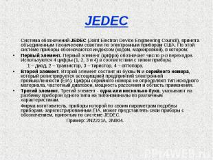 JEDEC Система обозначений JEDEC (Joint Electron Device Engineering Council), при