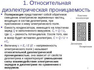1. Относительная диэлектрическая проницаемость Поляризация представляет собой об