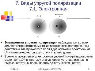 7. Виды упругой поляризации7.1. Электронная Электронная упругая поляризация набл