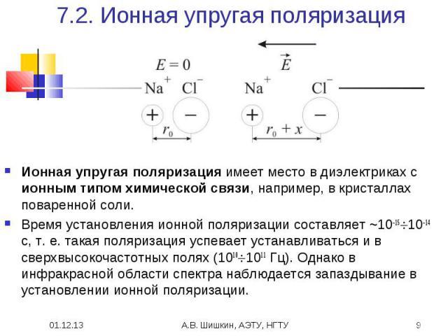 7.2. Ионная упругая поляризация Ионная упругая поляризация имеет место в диэлектриках с ионным типом химической связи, например, в кристаллах поваренной соли.Время установления ионной поляризации составляет ~10–1510–14 с, т.е. такая поляризация усп…