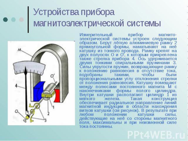 Устройства прибора магнитоэлектрической системы Измерительный прибор магнито- электрической системы устроен следующим образом. Берут лёгкую алюминиевую рамку 2 прямоугольной формы, наматывают на неё катушку из тонкого провода. Рамку крепят на двух п…