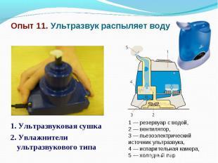Опыт 11. Ультразвук распыляет воду 1. Ультразвуковая сушка 2. Увлажнители ультра