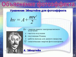 Объяснение фотоэффекта Уравнение Эйнштейна для фотоэффекта А. Эйнштейн