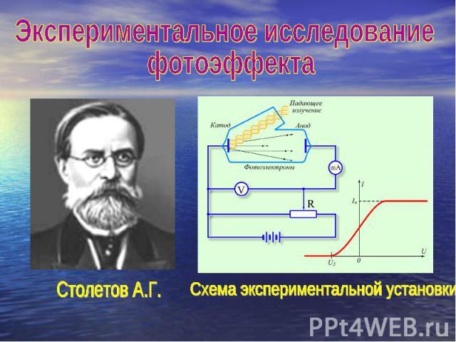 Экспериментальное исследование фотоэффекта Столетов А.Г.Схема экспериментальной установки