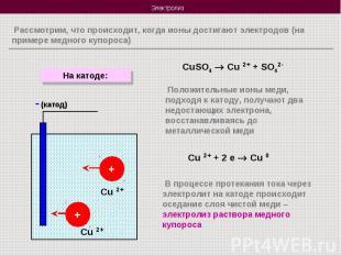 Рассмотрим, что происходит, когда ионы достигают электродов (на примере медного
