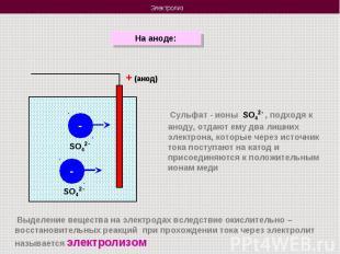 На аноде: Сульфат - ионы SO42- , подходя к аноду, отдают ему два лишних электрон