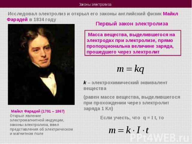 Исследовал электролиз и открыл его законы английский физик Майкл Фарадей в 1834 годуПервый закон электролиза Масса вещества, выделившегося на электродах при электролизе, прямо пропорциональна величине заряда, прошедшего через электролитk – электрохи…