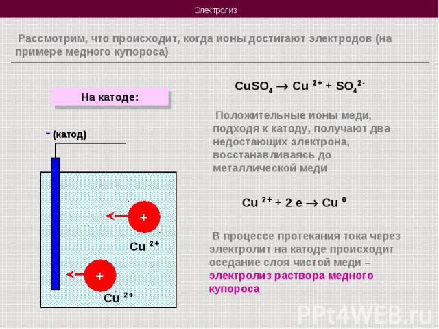 Рассмотрим, что происходит, когда ионы достигают электродов (на примере медного купороса) Положительные ионы меди, подходя к катоду, получают два недостающих электрона, восстанавливаясь до металлической меди В процессе протекания тока через электрол…