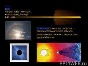 ГалоHalo От греч.Halos - световое кольцо вокруг Солнца или Луны ЗАТМЕНИЯ происхо