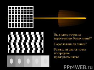 Вы видите точки на пересечениях белых линий?Параллельны ли линии?Разных ли цвето