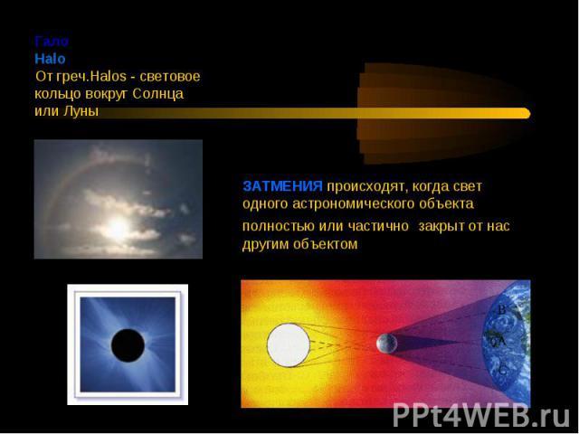ГалоHalo От греч.Halos - световое кольцо вокруг Солнца или Луны ЗАТМЕНИЯ происходят, когда свет одного астрономического объекта полностью или частично. закрыт от нас другим объектом