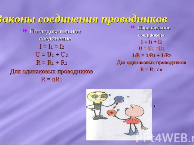 Законы соединения проводников Последовательное соединениеI = I1 = I2U = U1 + U2R = R1 + R2Для одинаковых проводниковR = nR1Параллельное соединениеI = I1 + I2U = U1 =U21/R = 1/R1 + 1/R2Для одинаковых проводниковR = R1 / n п