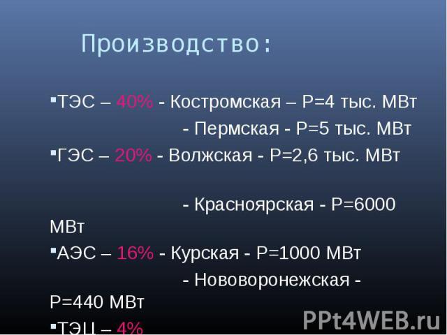 Производство: ТЭС – 40% - Костромская – P=4 тыс. МВт - Пермская - P=5 тыс. МВтГЭС – 20% - Волжская - P=2,6 тыс. МВт - Красноярская - P=6000 МВтАЭС – 16% - Курская - P=1000 МВт - Нововоронежская - P=440 МВтТЭЦ – 4%